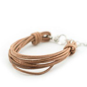 Tan Leather Strand Bracelet
